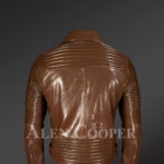 Men's Italian Leather Moto Biker Jacket - Alen Cooper back side view