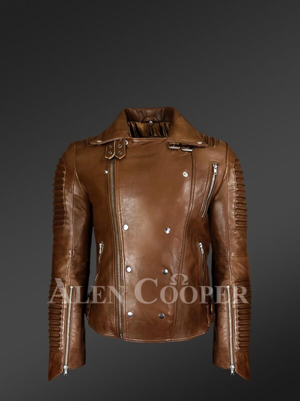 Men's Italian Leather Moto Biker Jacket - Alen Cooper new