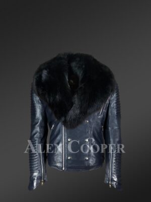 Men's Motorcycle Biker Jacket With Detachable Fox Fur Collar in Navy new