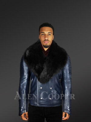 Men's Motorcycle Biker Jacket With Detachable Fox Fur Collar in Navy new views