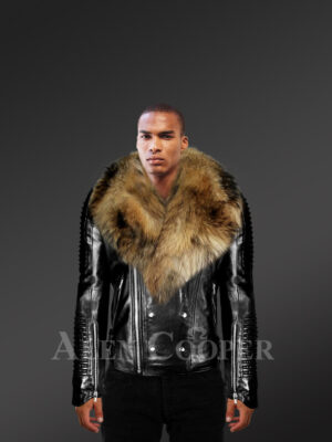 Men's Motorcycle Biker Jacket With Detachable Raccoon Fur Collar in Black -Alen Cooper