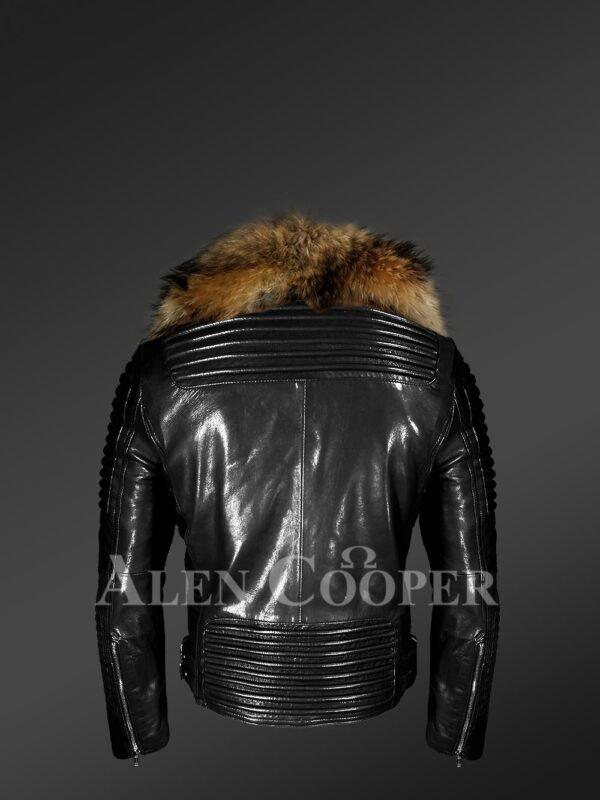 Men's Motorcycle Biker Jacket With Detachable Raccoon Fur Collar in Black -Alen Cooper side Back view
