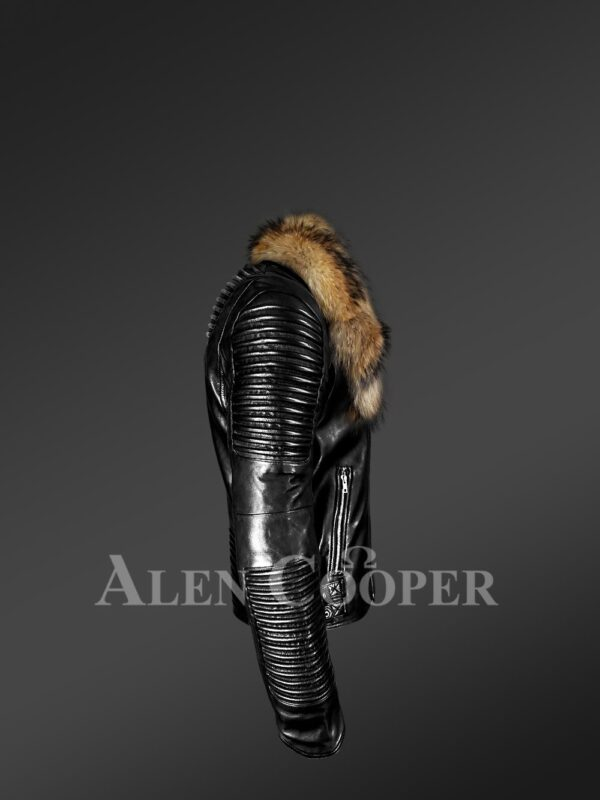 Men's Motorcycle Biker Jacket With Detachable Raccoon Fur Collar in Black -Alen Cooper side view