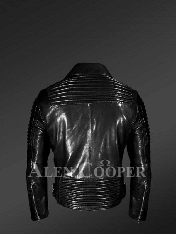 Men's Motorcycle Biker Jacket in Black - Alen Cooper back side view