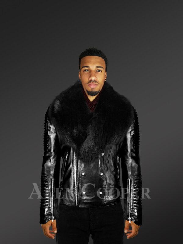 Men's Motorcycle Biker Jacket in Black with Detachable Fox Fur Collar With Model