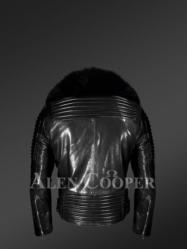 Men's Motorcycle Biker Jacket in Black with Detachable Fox Fur Collar new Back Side view