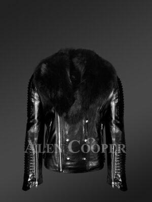 Men's Motorcycle Biker Jacket in Black with Detachable Fox Fur Collar new view