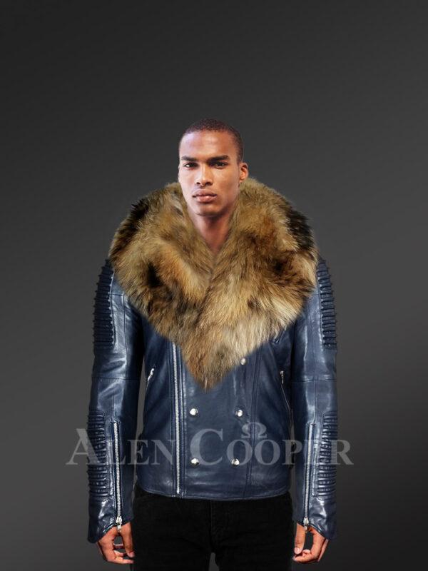 Men's Navy Motorcycle Biker Jacket With Detachable Raccoon Fur Collar with model views