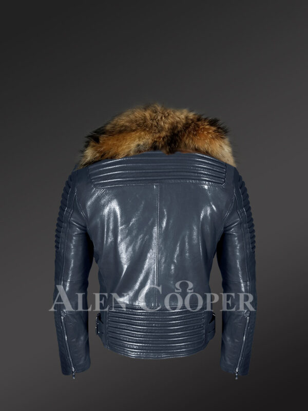 Men's Navy Motorcycle Biker Jacket With Detachable Raccoon Fur Collar with new Back Side views