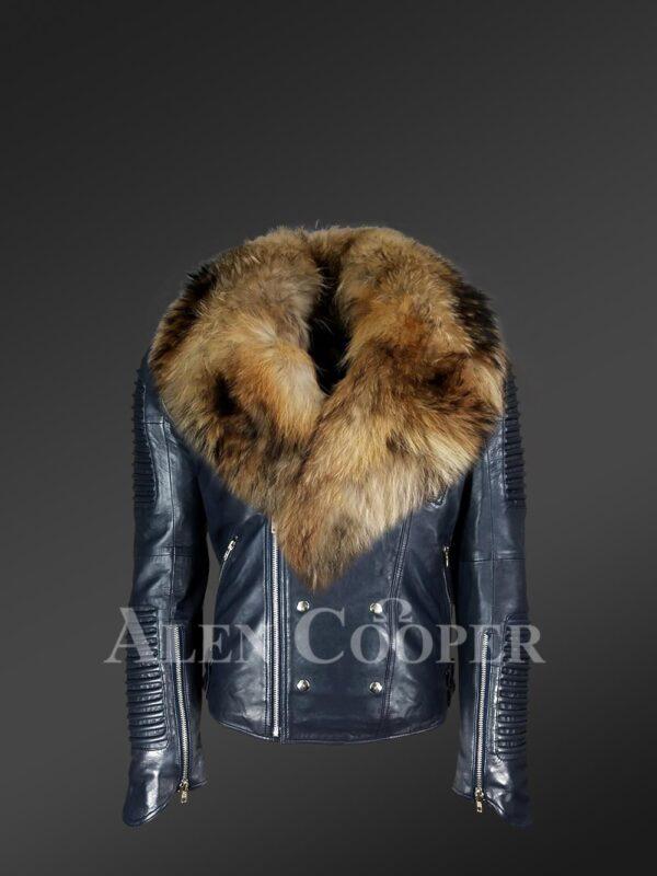 Men's Navy Motorcycle Biker Jacket With Detachable Raccoon Fur Collar with new views