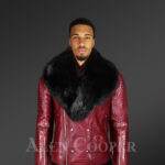 Men's Wine Color Motorcycle Biker Jacket with Detachable Fox Fur Collar new model