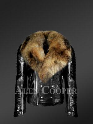 Me's Motorcycle Biker Jacket With Detachable Raccoon Fur Collar in Black -Alen Cooper