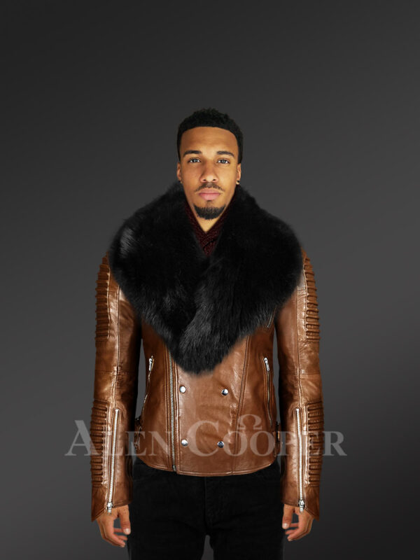 New Men's Motorcycle Biker Jacket With Detachable Fox Fur Collar in Tan