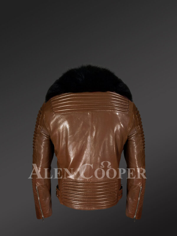 New Men's Motorcycle Biker Jacket With Detachable Fox Fur Collar in Tan Back view
