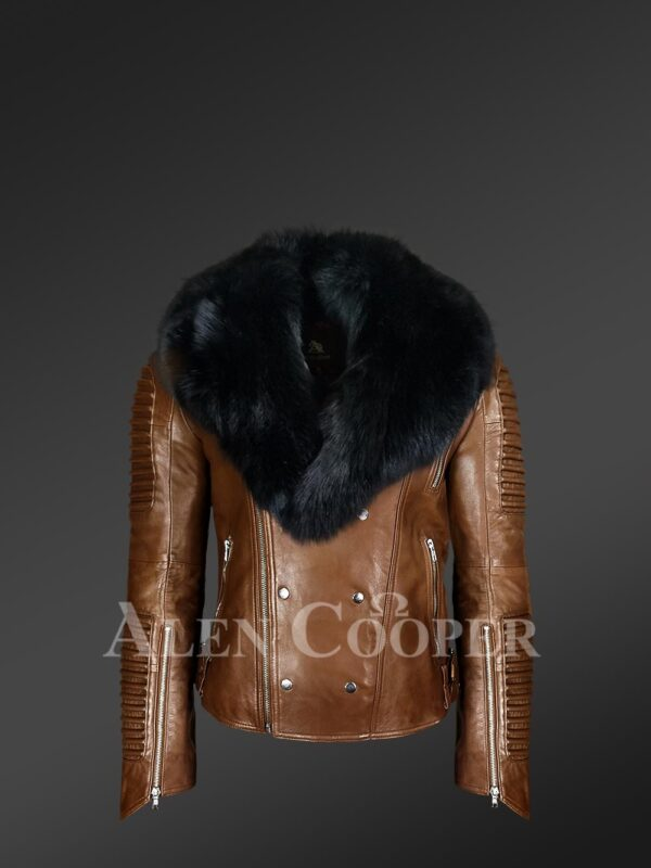 New Men's Motorcycle Biker Jacket With Detachable Fox Fur Collar in Tan view