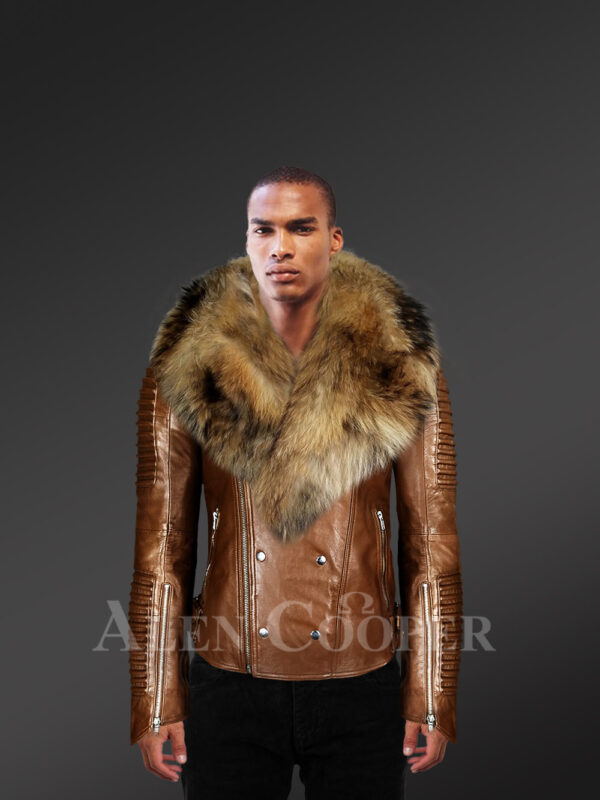 New Men's Tan Color Motorcycle Biker Jacket With Detachable Raccoon Fur Collar