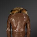 New Men's Tan Color Motorcycle Biker Jacket With Detachable Raccoon Fur Collar back side view