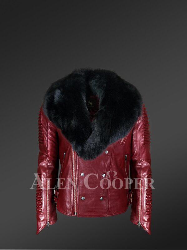 New Men's Wine Color Motorcycle Biker Jacket with Detachable Fox Fur Collar