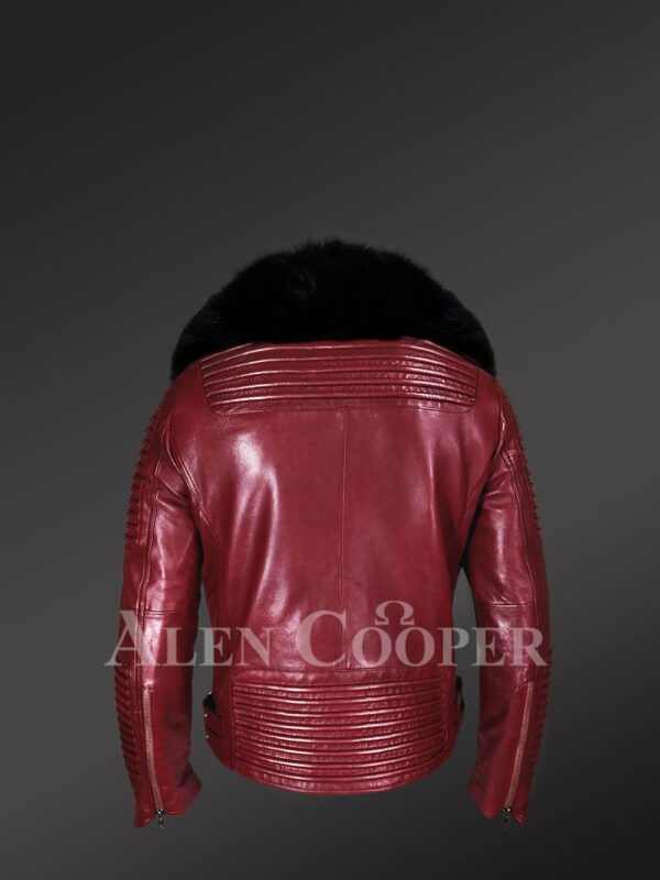 New Men's Wine Color Motorcycle Biker Jacket with Detachable Fox Fur Collar back side view