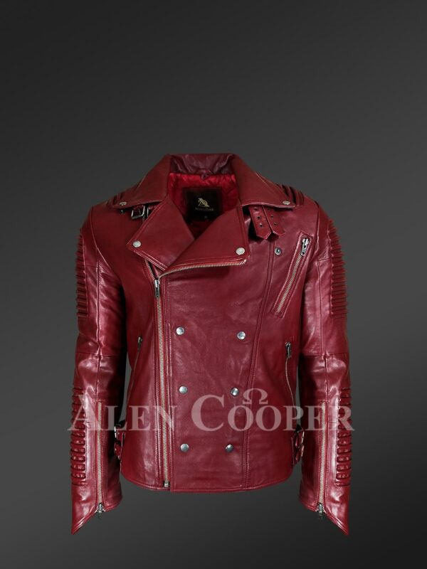 New Real Leather Assymetrical Zipper Biker Moto Jacket for Men
