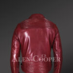 New Real Leather Assymetrical Zipper Biker Moto Jacket for Men Back side view