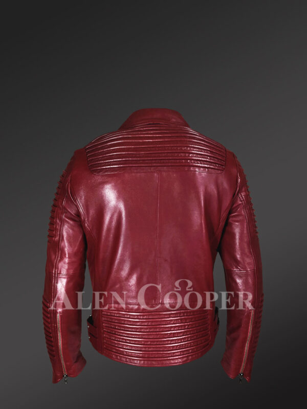 New Real Leather Assymetrical Zipper Biker Moto Jacket for Men Back side view