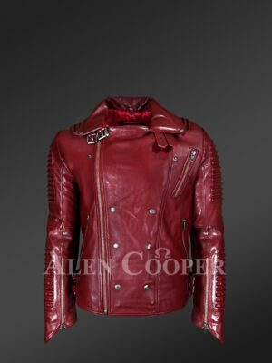 New Real Leather Assymetrical Zipper Biker Moto Jacket for Men's