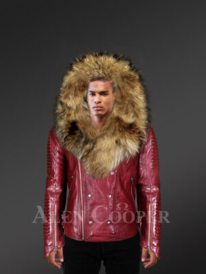 Stylish wine color detachable moto leather jackets for men with Finn raccoon fur collar and frontline