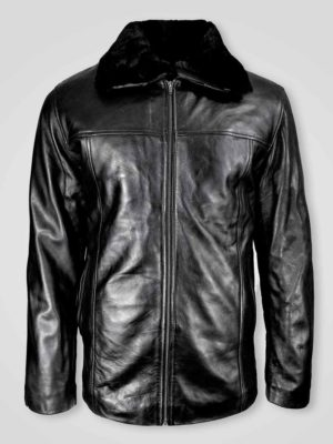 MEN'S PURE LEATHER JACKET WITH ZIPOUT SHEARLING COLLAR