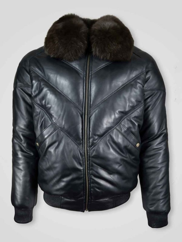 MEN'S V-BOMBER LEATHER JACKET WITH ZIPOUT FOX FUR COLLAR