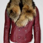 WINE COLORED LEATHER JACKET WITH REAL RACCOON COLLAR FOR MEN