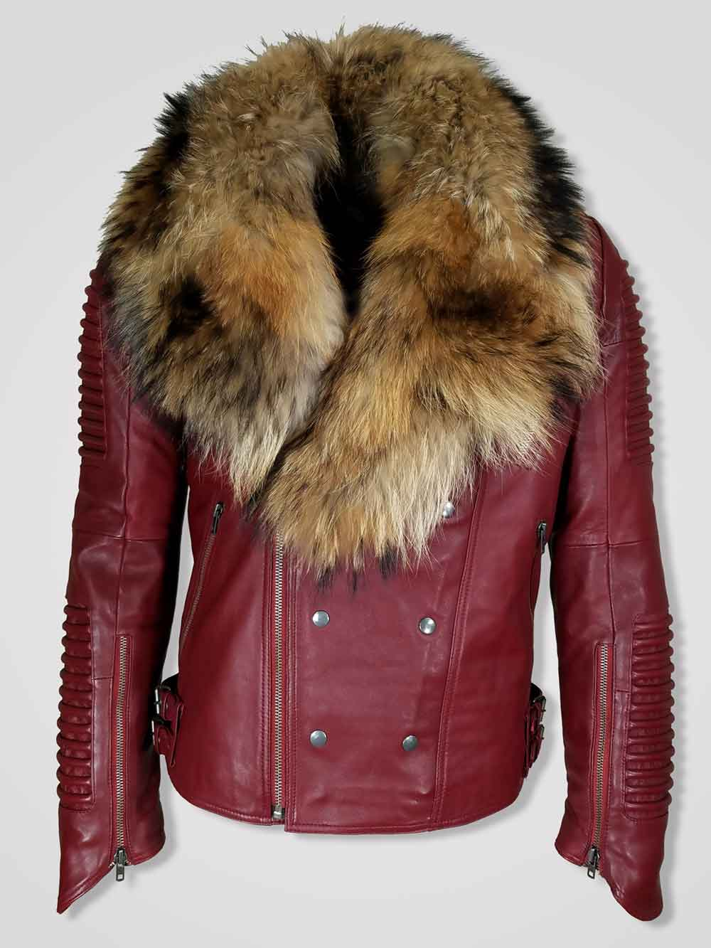 Men S Bluish Pure Leather Jacket With Real Fur Collar For Winter
