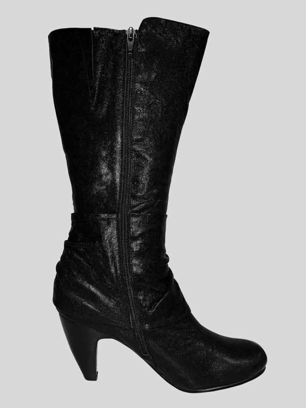 BLACK LEATHER BOOT WITH LEATHER RIBBON FOR WOMENS
