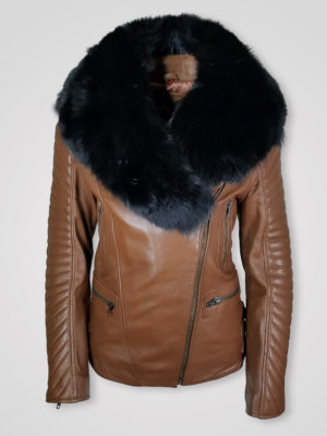 BLACK SHEARLING COLLAR PURE LEATHER JACKET FOR WOMEN
