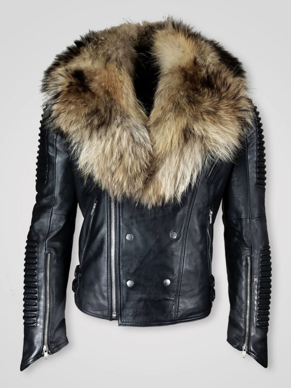 COMFORTABLE AND STYLISH FUR COLLAR PURE LEATHER JACKET FOR MEN
