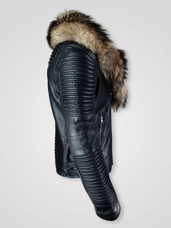COMFORTABLE AND STYLISH FUR COLLAR PURE LEATHER JACKET FOR MEN SIDE VIEW