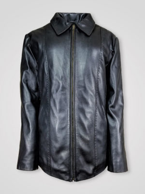 ITALIAN LEATHER FINISH STAND COLLAR JACKET FOR WOMEN'S