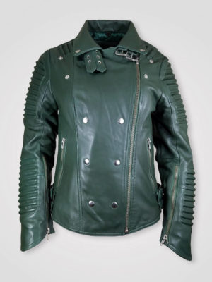 LAPEL COLLAR LEATHER JACKET WITH ZIPPED POCKETS