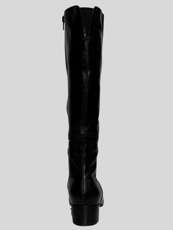Long Black Pure Leather Everyday Wear Boot for Women Side view