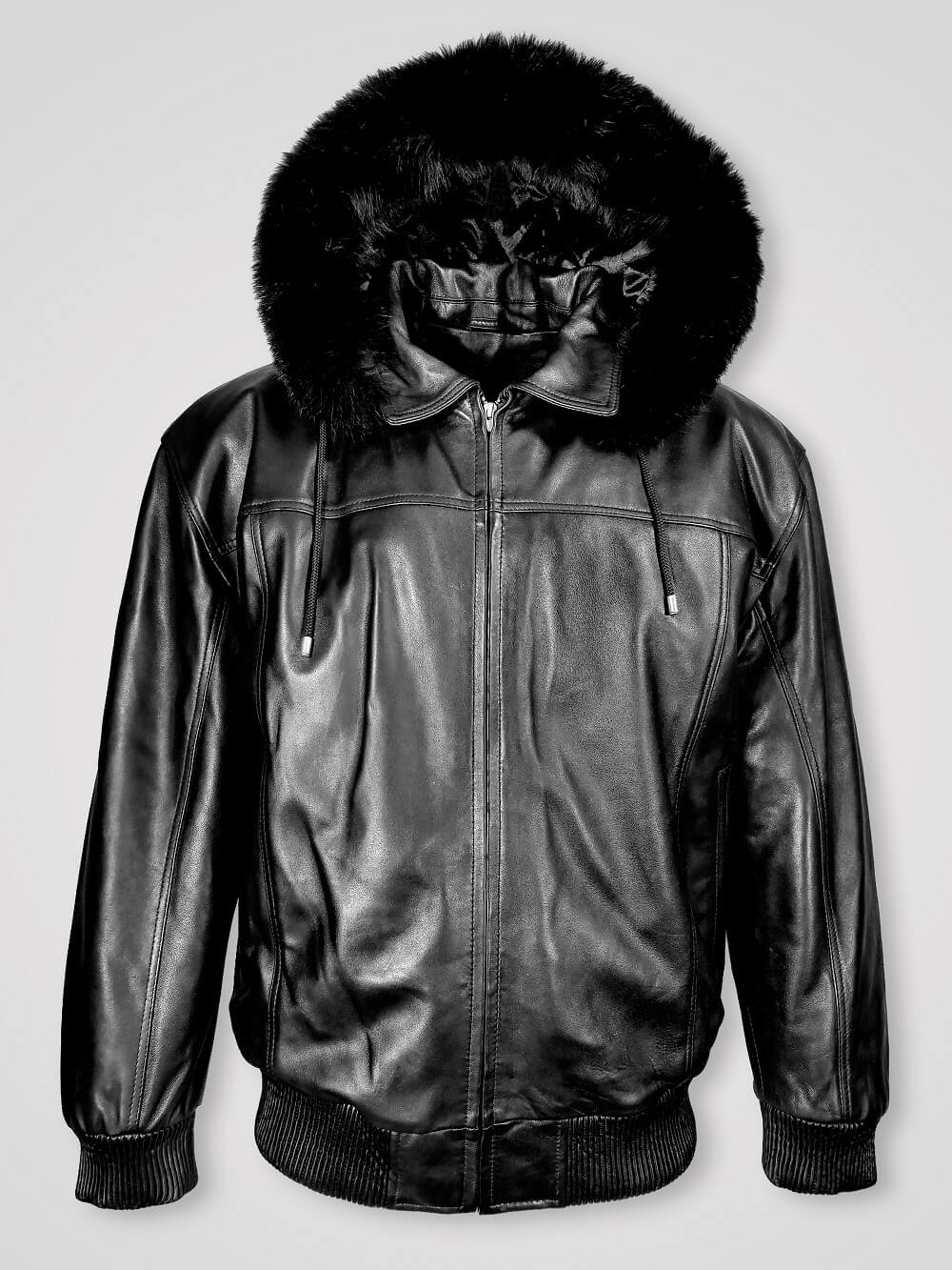 Mens Zipout Hooded Bomber With Fox Fur Trim