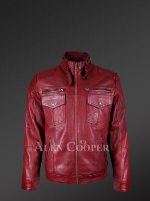 Men's Moto Biker Jacket With 2 Patch Pockets In Front and Belted Collar in Wine