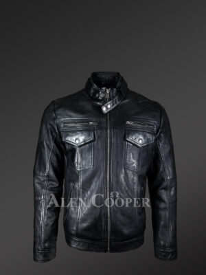 Men's Moto Biker Jacket With 2 Patch Pockets In Front new