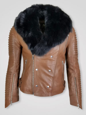 REAL ITALIAN LEATHER FINISH JACKET WITH FOR COLLAR FOR MEN