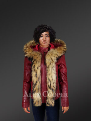 ROMANCE CLASSIC CUT LEATHER JACKET WITH NATURAL FUR TRIM WITH HOOD WITH MODEL
