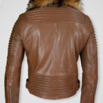 Raccoon Fur Collar Pure Leather Jacket for Men Back Side view