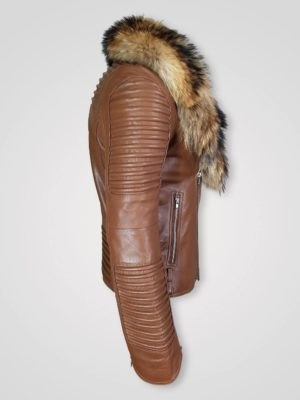 Raccoon Fur Collar Pure Leather Jacket for Men Side view