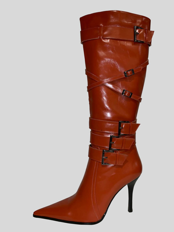 Rust colored kitten heeled boot for women