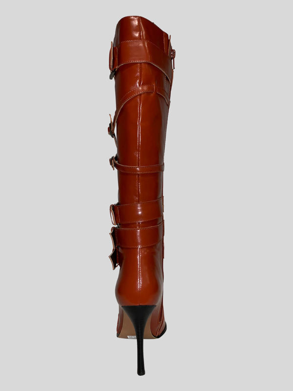 Rust colored kitten heeled boot for women BACK SIDE VIEW