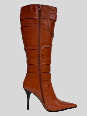 Rust colored kitten heeled boot for women side view