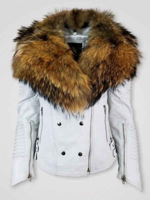 SHINY WHITE LAPEL COLLAR WOMEN'S LEATHER JACKET